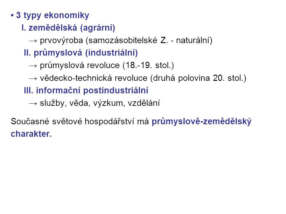• 3 typy ekonomiky I. zemědělská (agrární) → prvovýroba (samozásobitelské Z. - naturální) II. průmyslová (industriální)