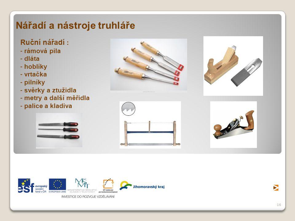 Nářadí a nástroje truhláře