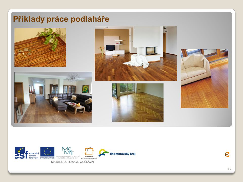 Příklady práce podlaháře