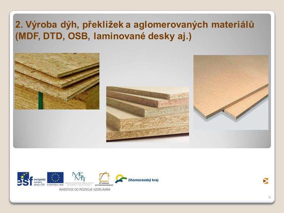 2. Výroba dýh, překližek a aglomerovaných materiálů (MDF, DTD, OSB, laminované desky aj.)