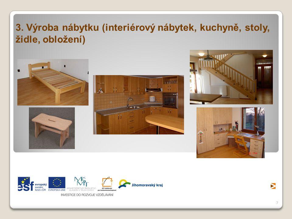 3. Výroba nábytku (interiérový nábytek, kuchyně, stoly, židle, obložení)