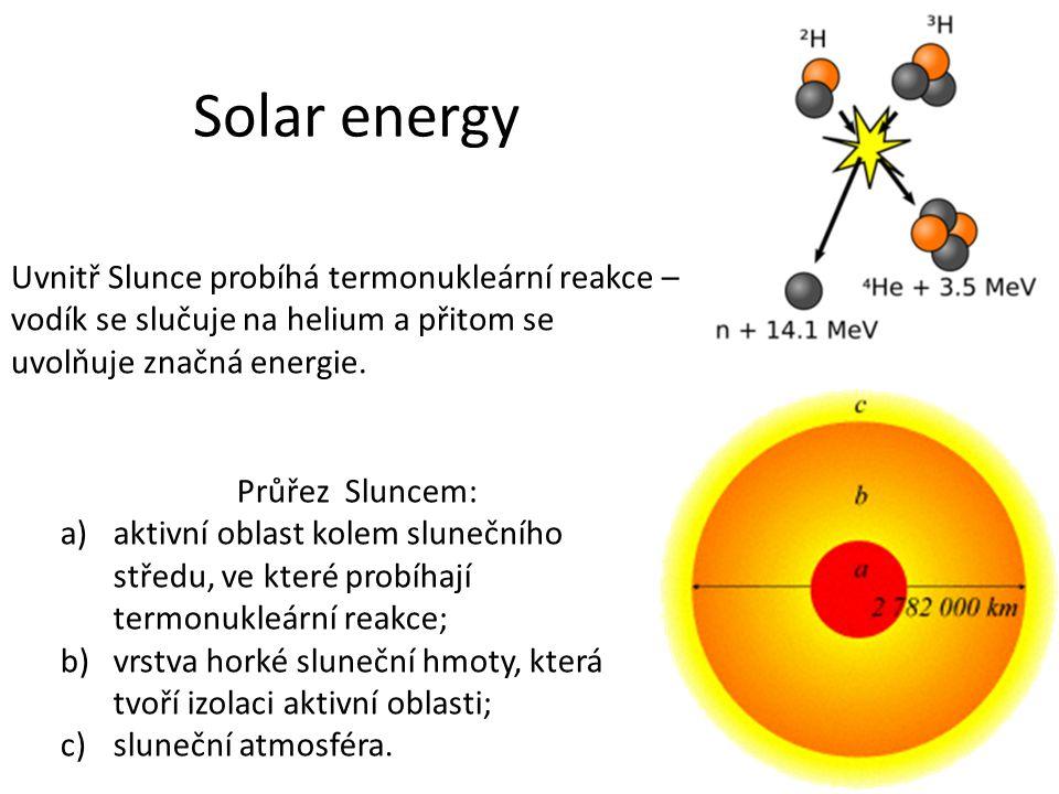 Solar energy Uvnitř Slunce probíhá termonukleární reakce – vodík se slučuje na helium a přitom se uvolňuje značná energie.
