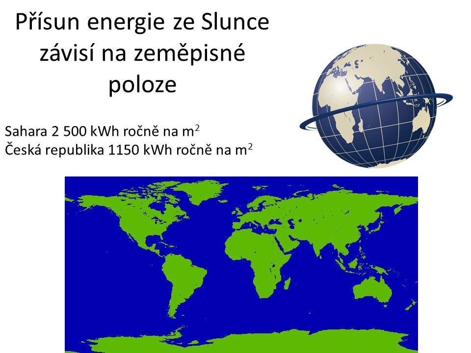 Přísun energie ze Slunce závisí na zeměpisné poloze