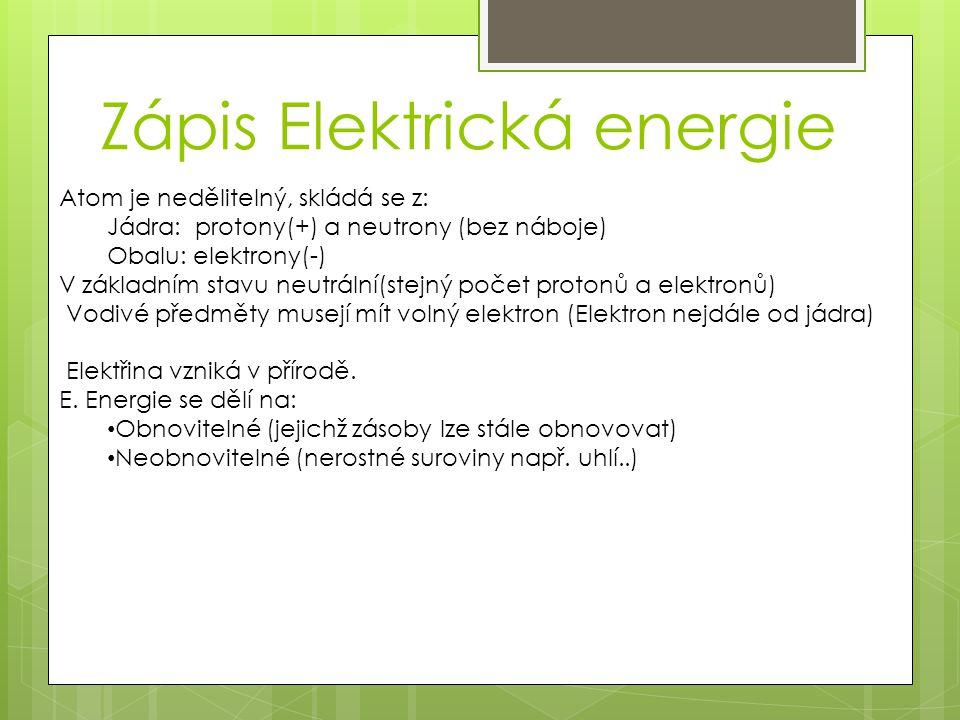 Zápis Elektrická energie