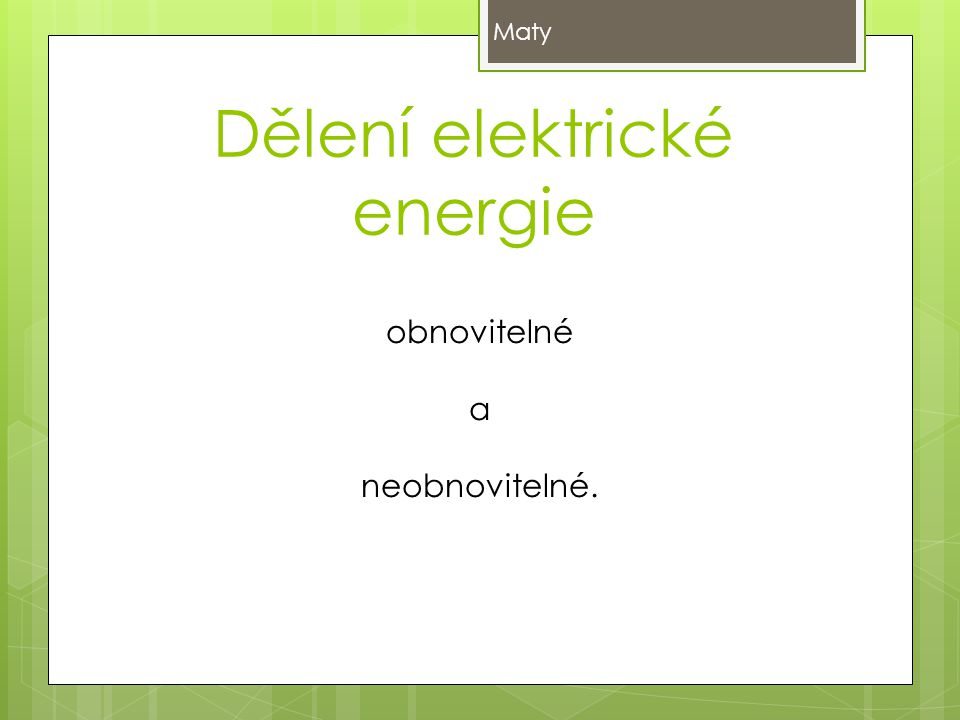 Dělení elektrické energie
