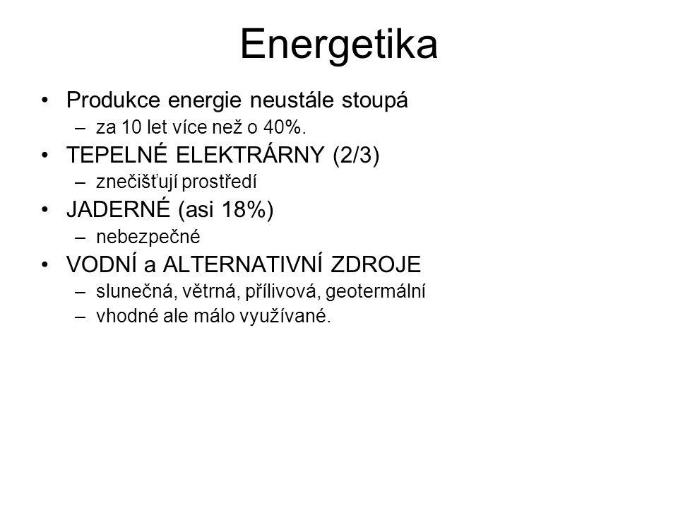Energetika Produkce energie neustále stoupá TEPELNÉ ELEKTRÁRNY (2/3)