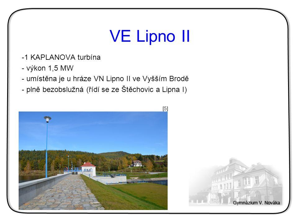 VE Lipno II 1 KAPLANOVA turbína výkon 1,5 MW