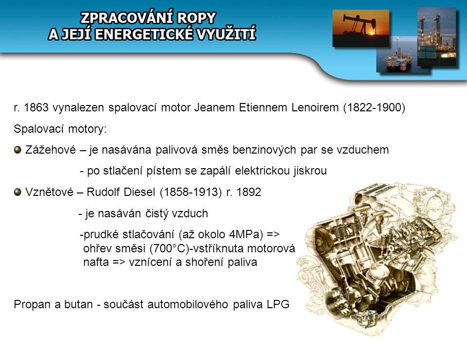 r. 1863 vynalezen spalovací motor Jeanem Etiennem Lenoirem (1822-1900)