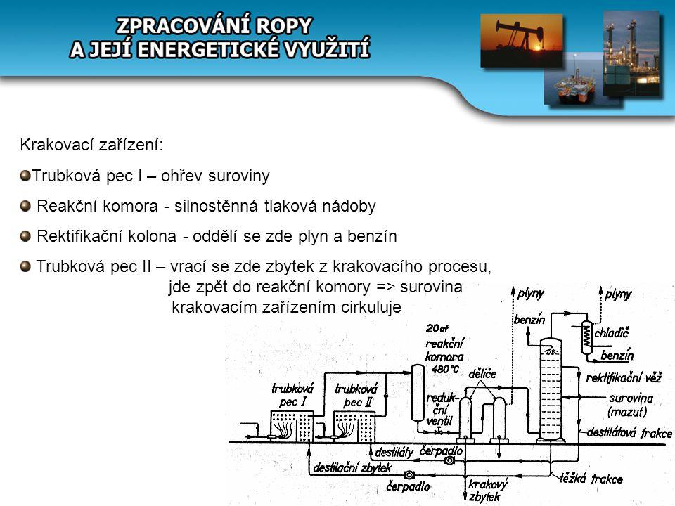 Krakovací zařízení: Trubková pec I – ohřev suroviny. Reakční komora - silnostěnná tlaková nádoby. Rektifikační kolona - oddělí se zde plyn a benzín.