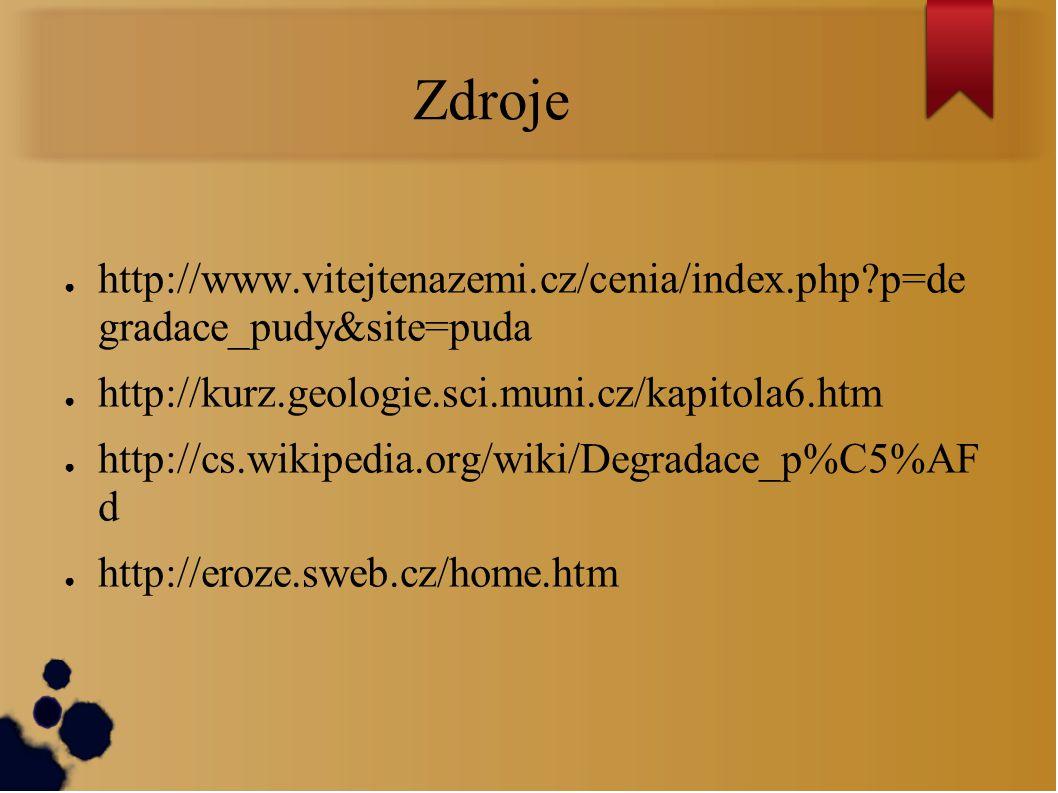 Zdroje http://www.vitejtenazemi.cz/cenia/index.php p=de gradace_pudy&site=puda. http://kurz.geologie.sci.muni.cz/kapitola6.htm.