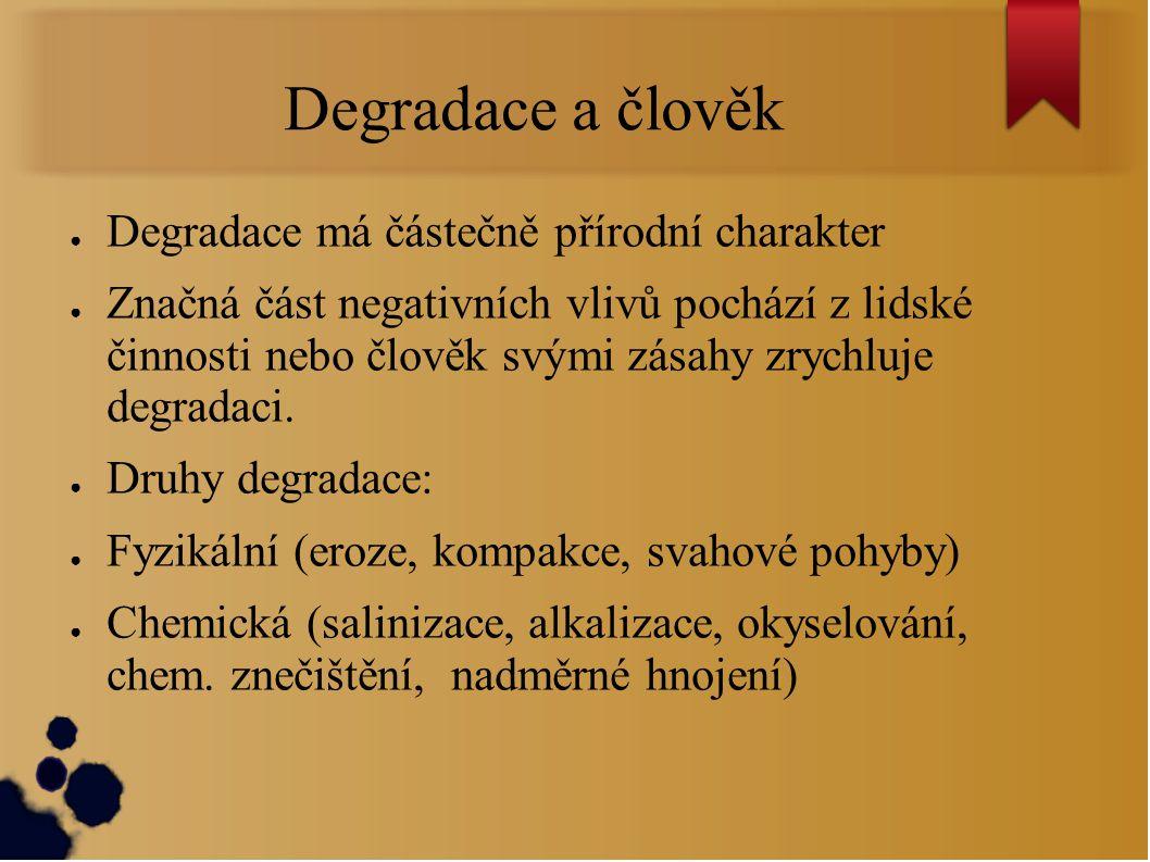 Degradace a člověk Degradace má částečně přírodní charakter