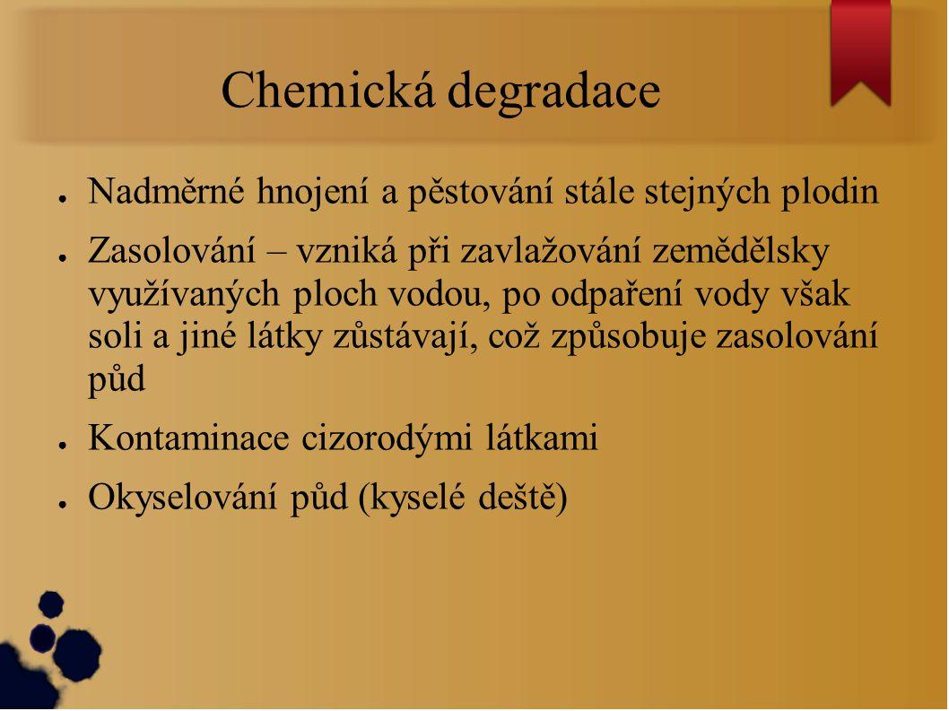 Chemická degradace Nadměrné hnojení a pěstování stále stejných plodin