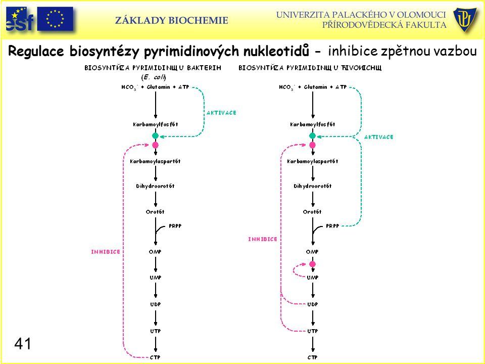 Regulace biosyntézy pyrimidinových nukleotidů - inhibice zpětnou vazbou