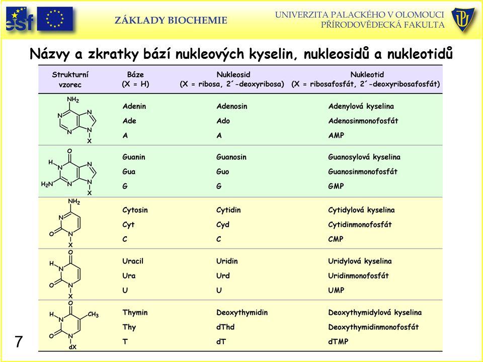 Názvy a zkratky bází nukleových kyselin, nukleosidů a nukleotidů