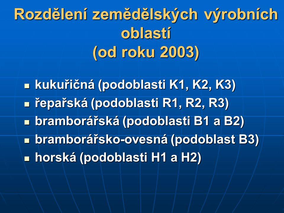 Rozdělení zemědělských výrobních oblastí (od roku 2003)