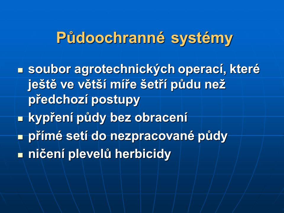 Půdoochranné systémy soubor agrotechnických operací, které ještě ve větší míře šetří půdu než předchozí postupy.