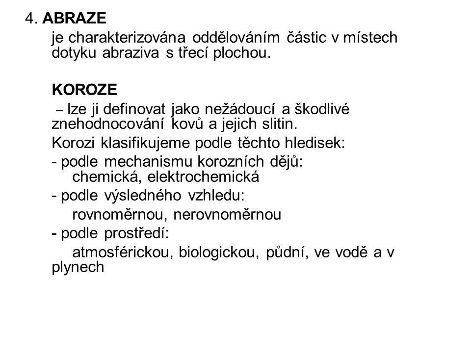 4. ABRAZE je charakterizována oddělováním částic v místech dotyku abraziva s třecí plochou. KOROZE.