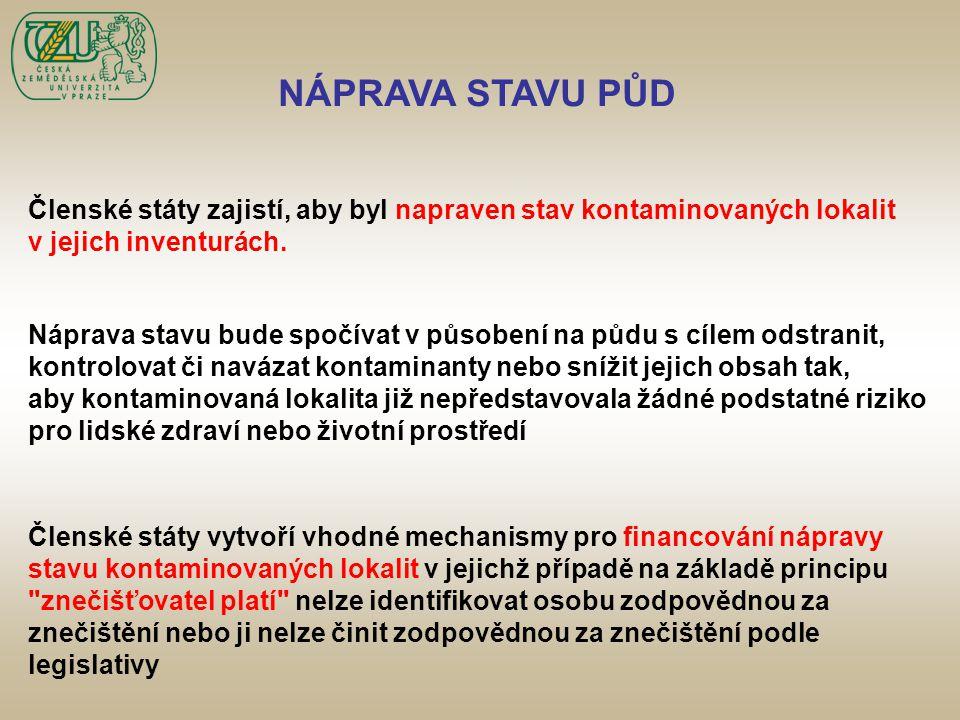 NÁPRAVA STAVU PŮD Členské státy zajistí, aby byl napraven stav kontaminovaných lokalit. v jejich inventurách.