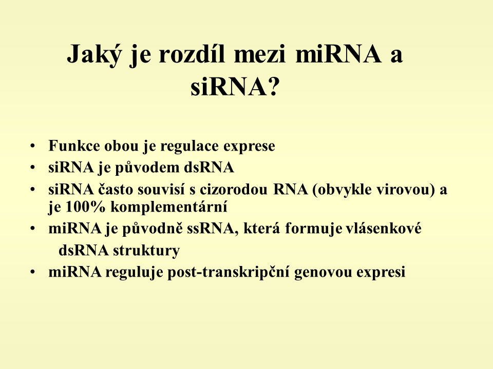 Jaký je rozdíl mezi miRNA a siRNA