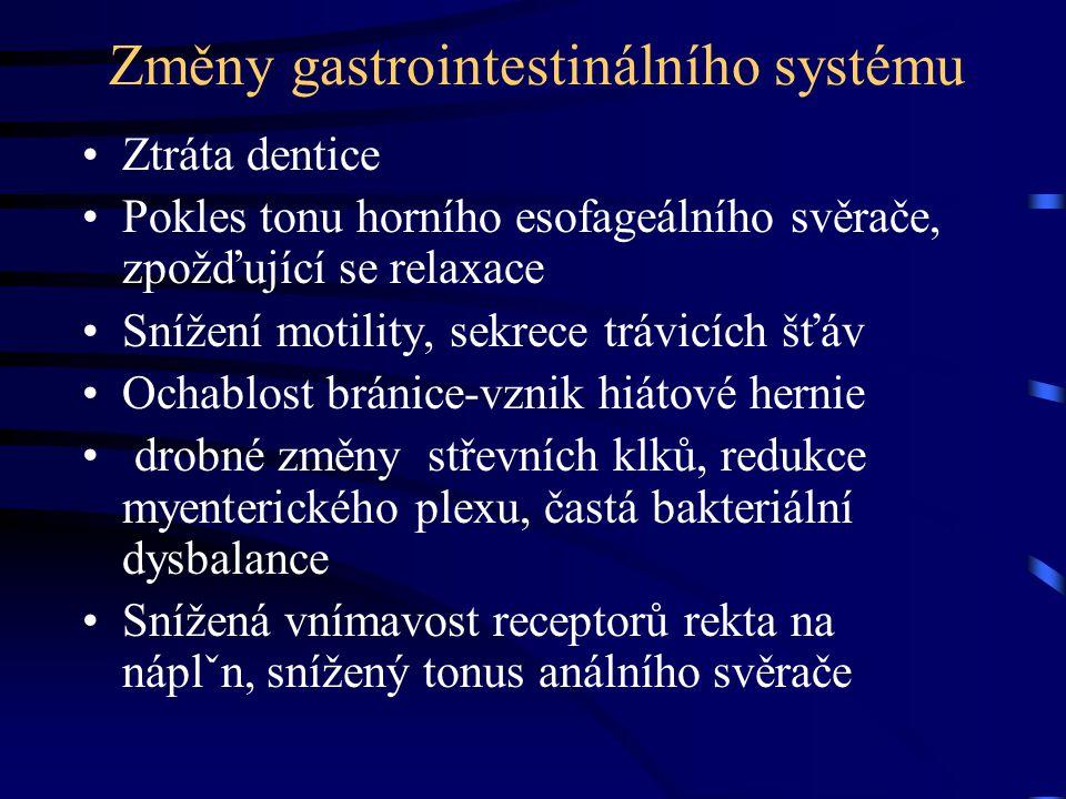 Změny gastrointestinálního systému