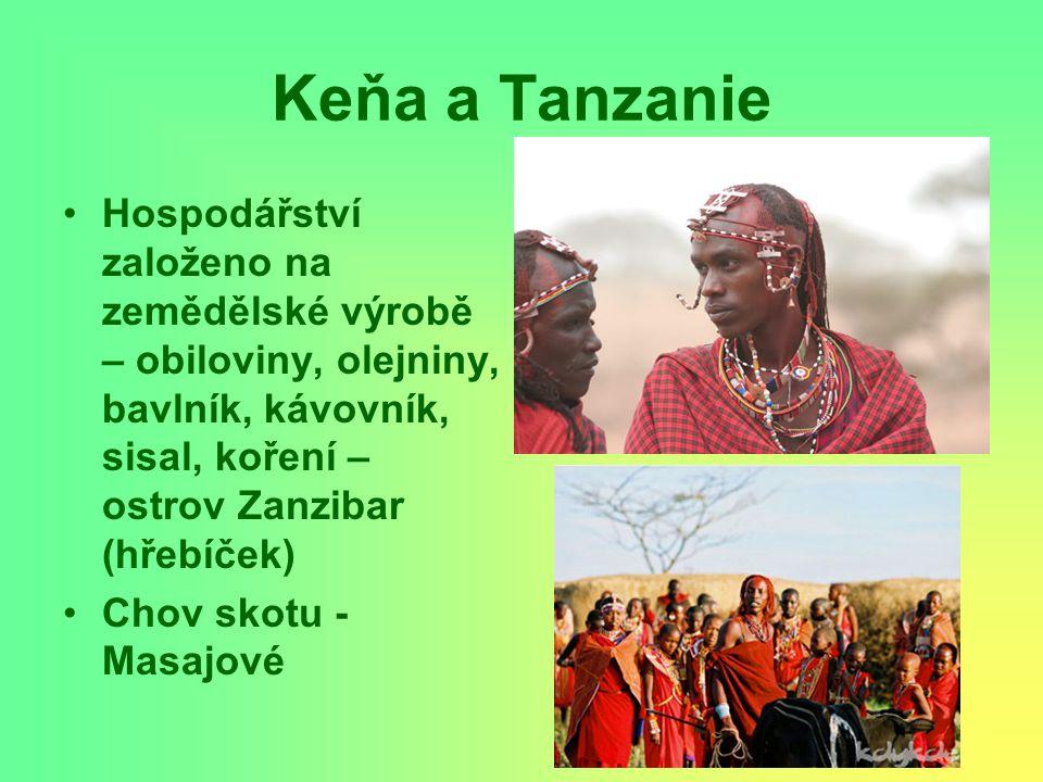 Keňa a Tanzanie Hospodářství založeno na zemědělské výrobě – obiloviny, olejniny, bavlník, kávovník, sisal, koření – ostrov Zanzibar (hřebíček)