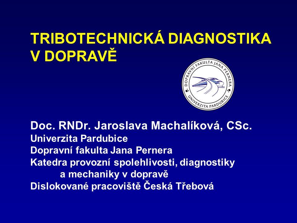 TRIBOTECHNICKÁ DIAGNOSTIKA V DOPRAVĚ Doc. RNDr