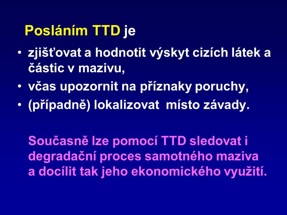 Posláním TTD je zjišťovat a hodnotit výskyt cizích látek a částic v mazivu, včas upozornit na příznaky poruchy,