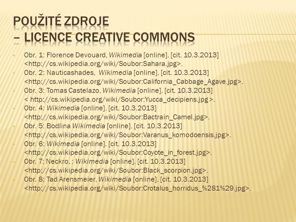 Použité zdroje – licence Creative Commons