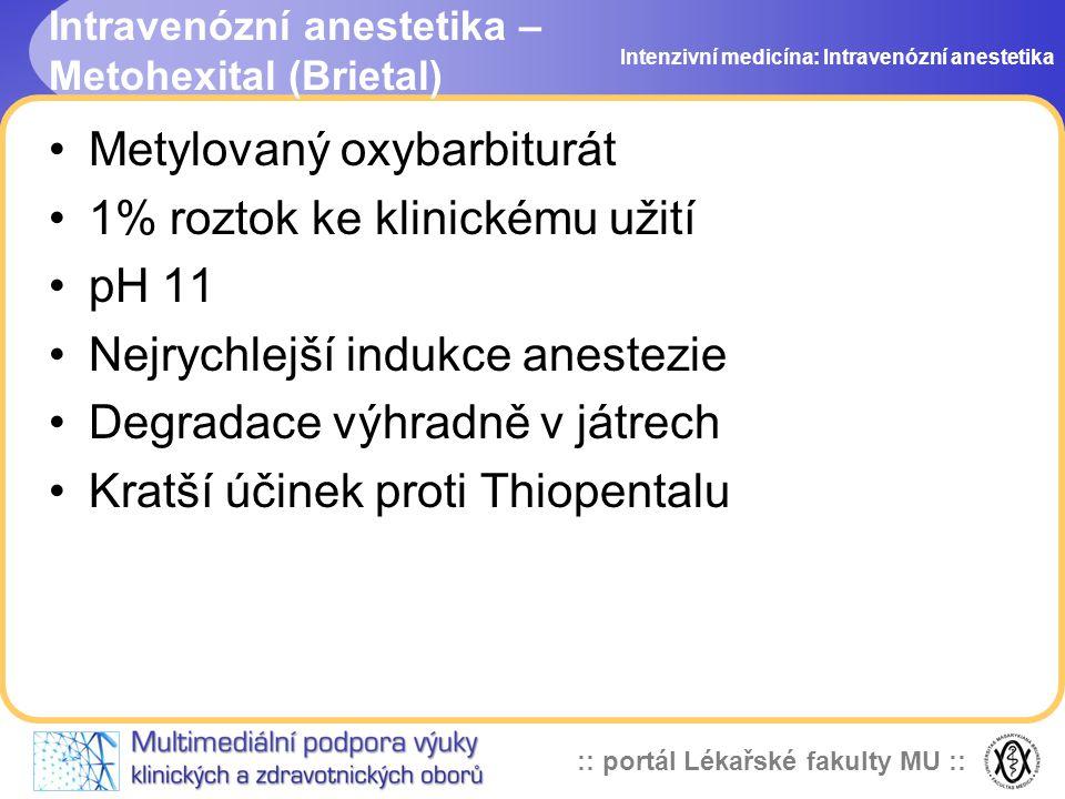 Intravenózní anestetika – Metohexital (Brietal)
