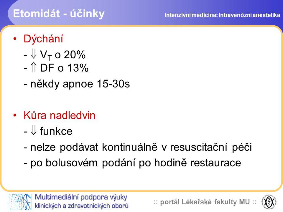 - nelze podávat kontinuálně v resuscitační péči