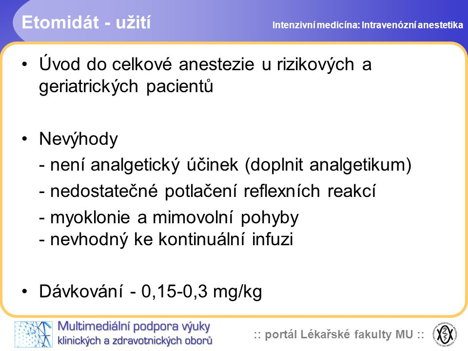 Úvod do celkové anestezie u rizikových a geriatrických pacientů
