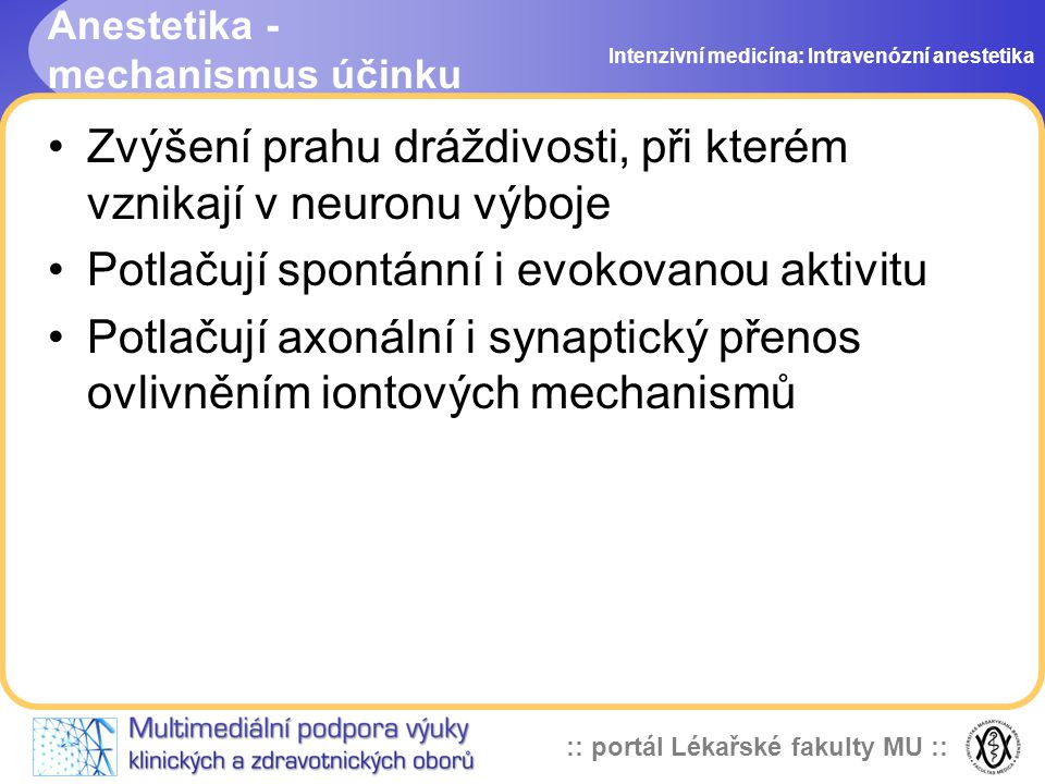 Anestetika - mechanismus účinku
