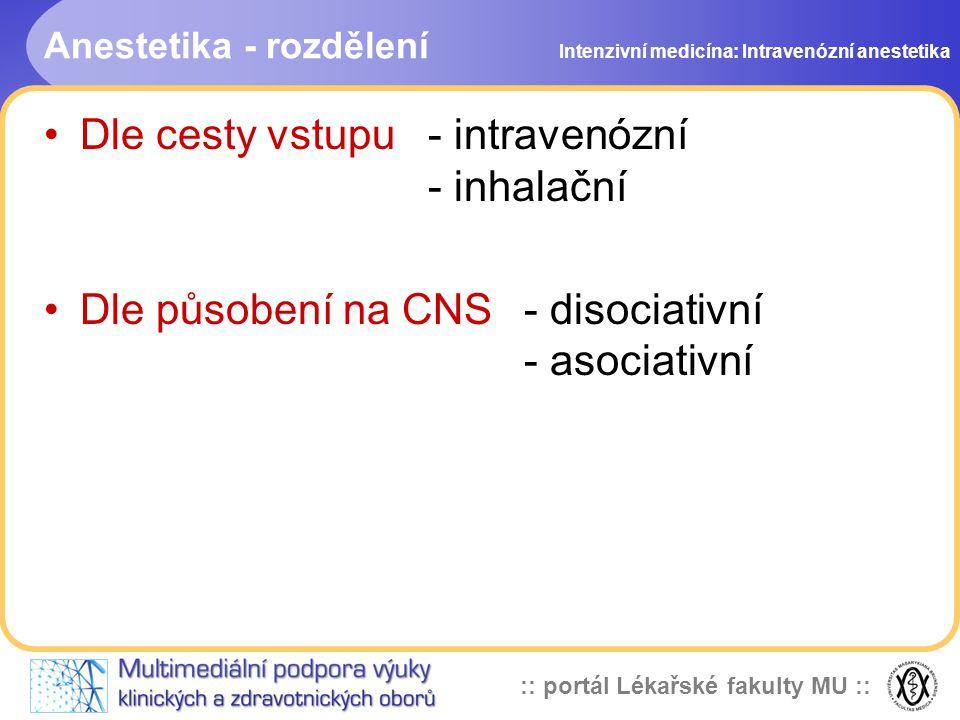 Anestetika - rozdělení