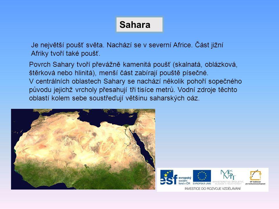 Sahara Je největší poušť světa. Nachází se v severní Africe. Část jižní Afriky tvoří také poušť.