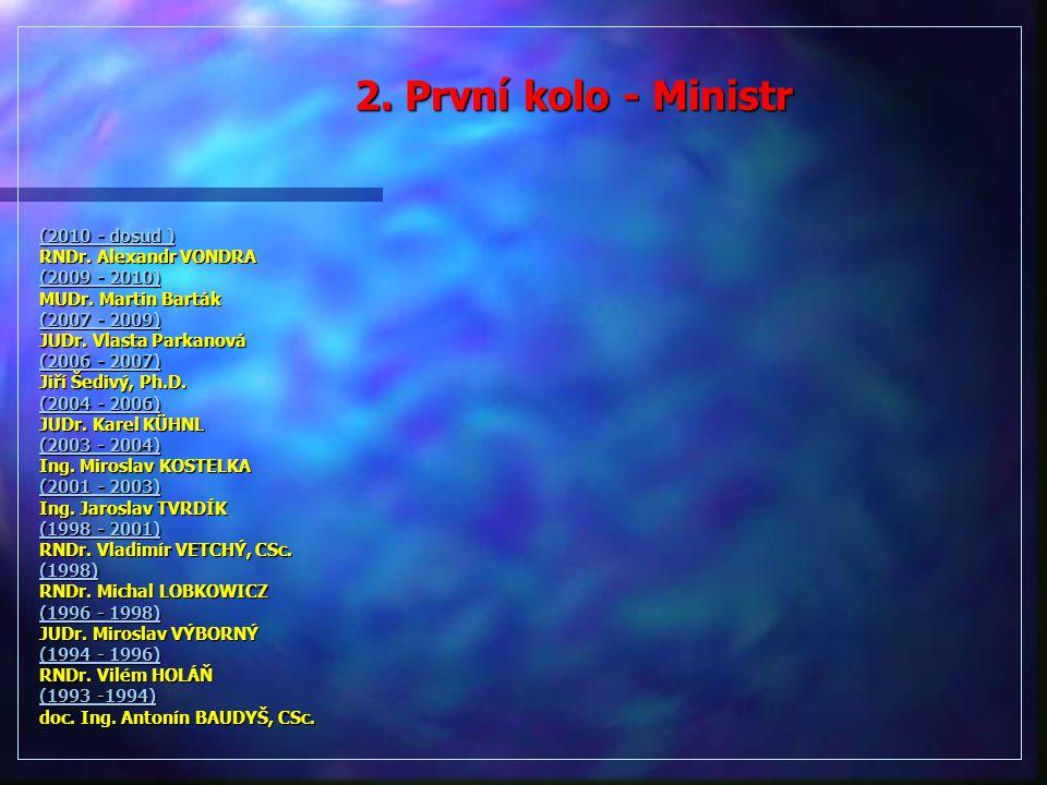 2. První kolo - Ministr (2010 - dosud ) RNDr. Alexandr VONDRA