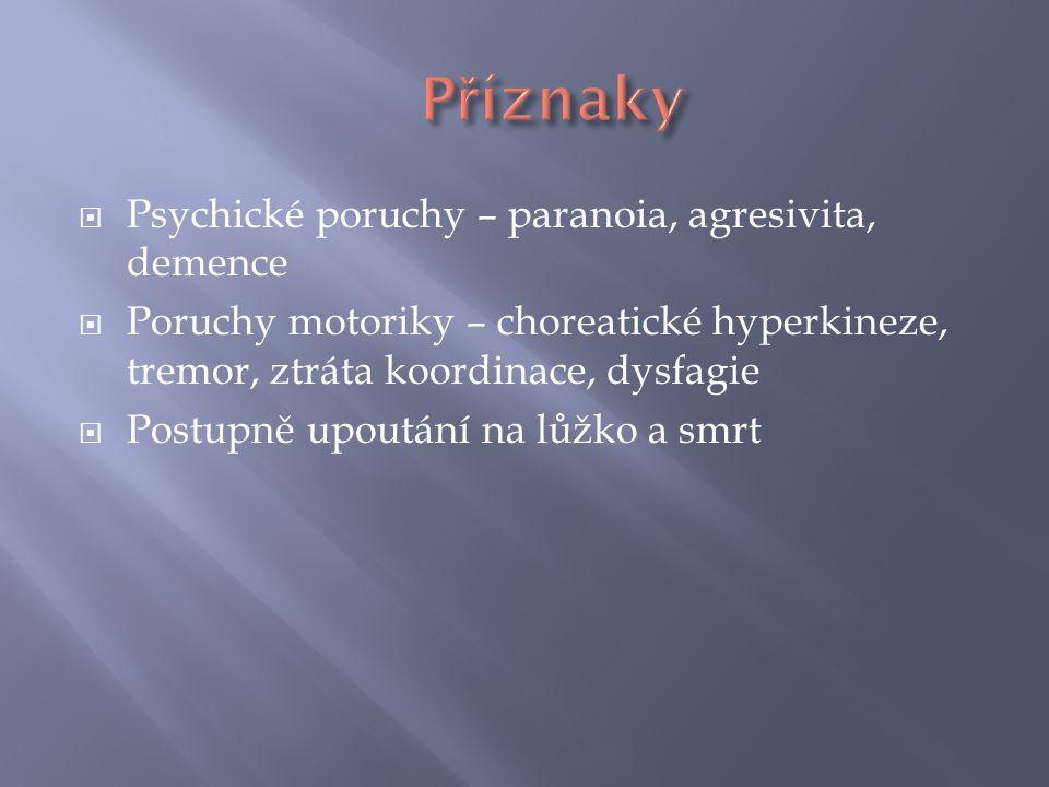 Příznaky Psychické poruchy – paranoia, agresivita, demence
