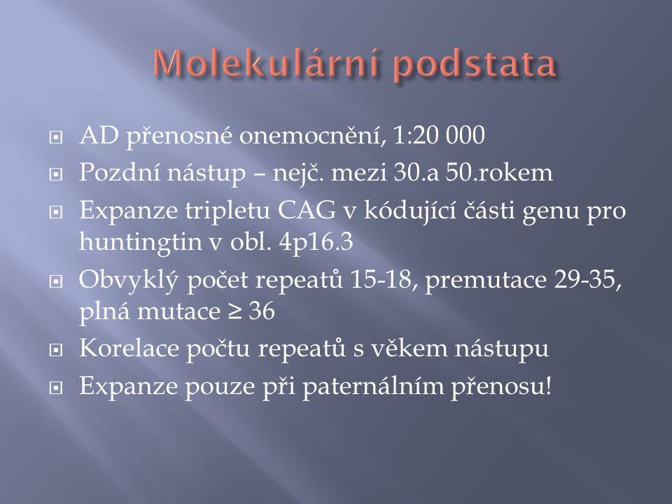 Molekulární podstata AD přenosné onemocnění, 1:20 000