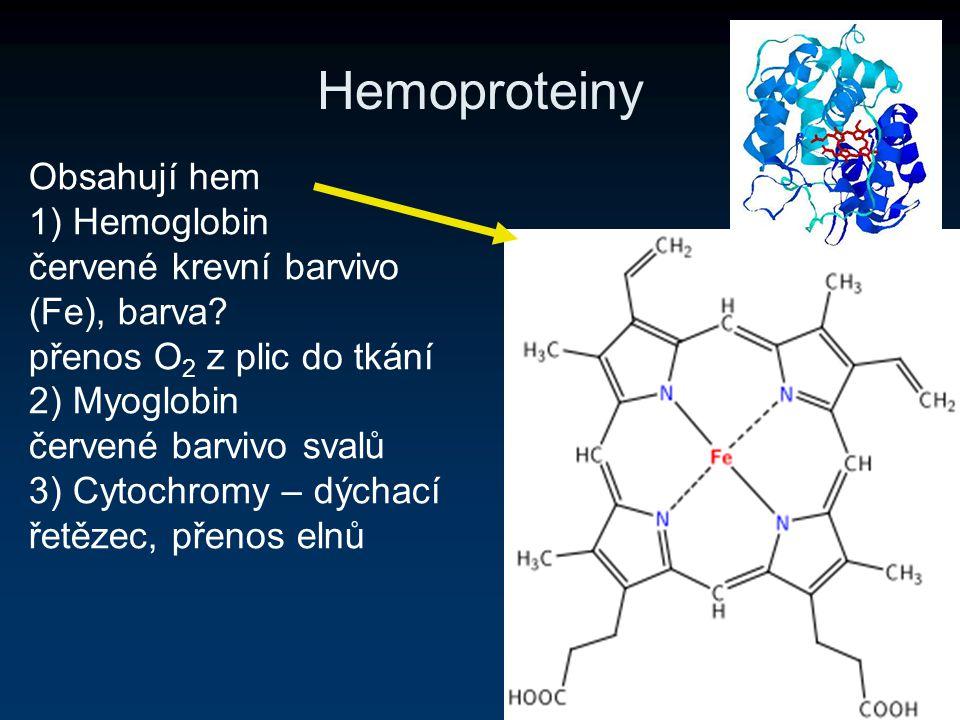 Hemoproteiny Obsahují hem 1) Hemoglobin