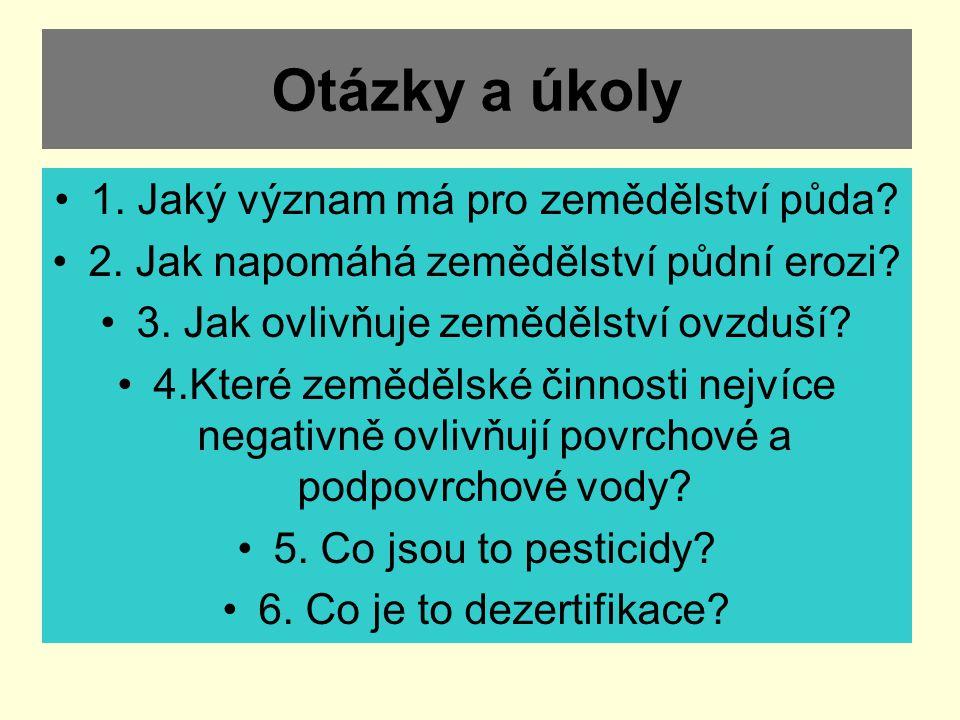 Otázky a úkoly 1. Jaký význam má pro zemědělství půda