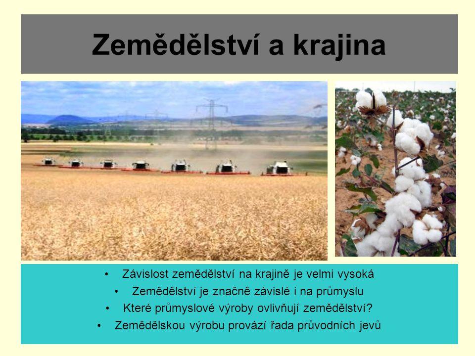 Zemědělství a krajina Závislost zemědělství na krajině je velmi vysoká