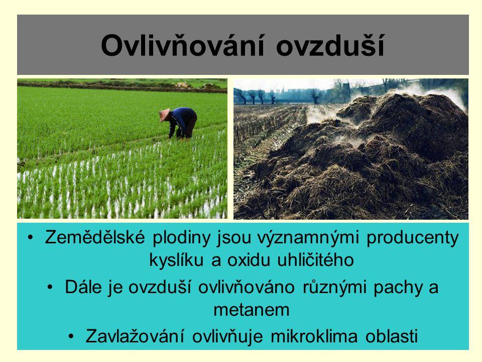 Ovlivňování ovzduší Zemědělské plodiny jsou významnými producenty kyslíku a oxidu uhličitého. Dále je ovzduší ovlivňováno různými pachy a metanem.