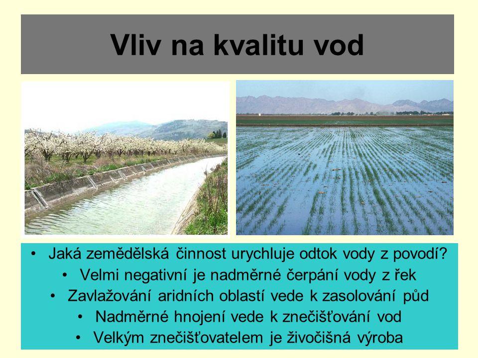 Vliv na kvalitu vod Jaká zemědělská činnost urychluje odtok vody z povodí Velmi negativní je nadměrné čerpání vody z řek.