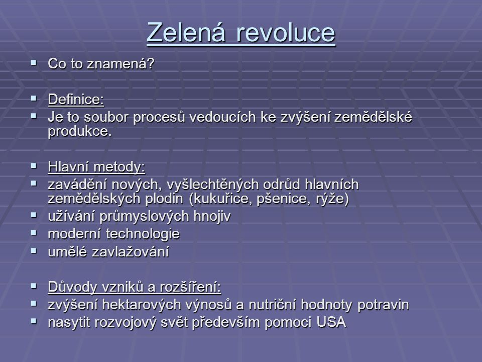 Zelená revoluce Co to znamená Definice: