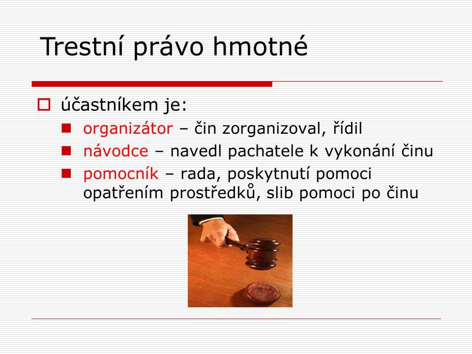 Trestní právo hmotné účastníkem je: