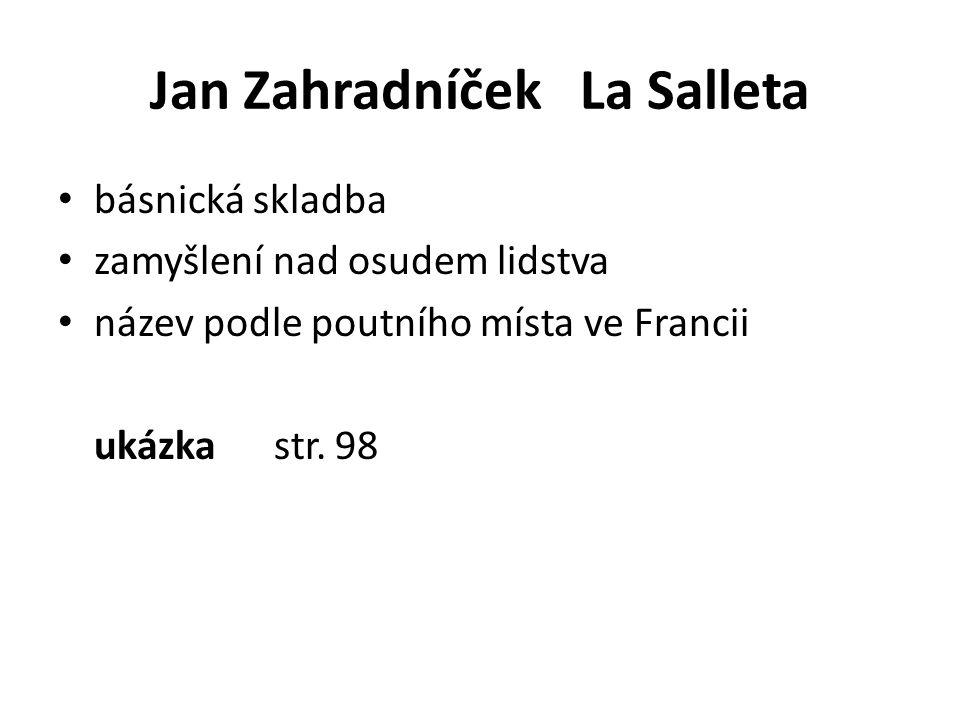 Jan Zahradníček La Salleta