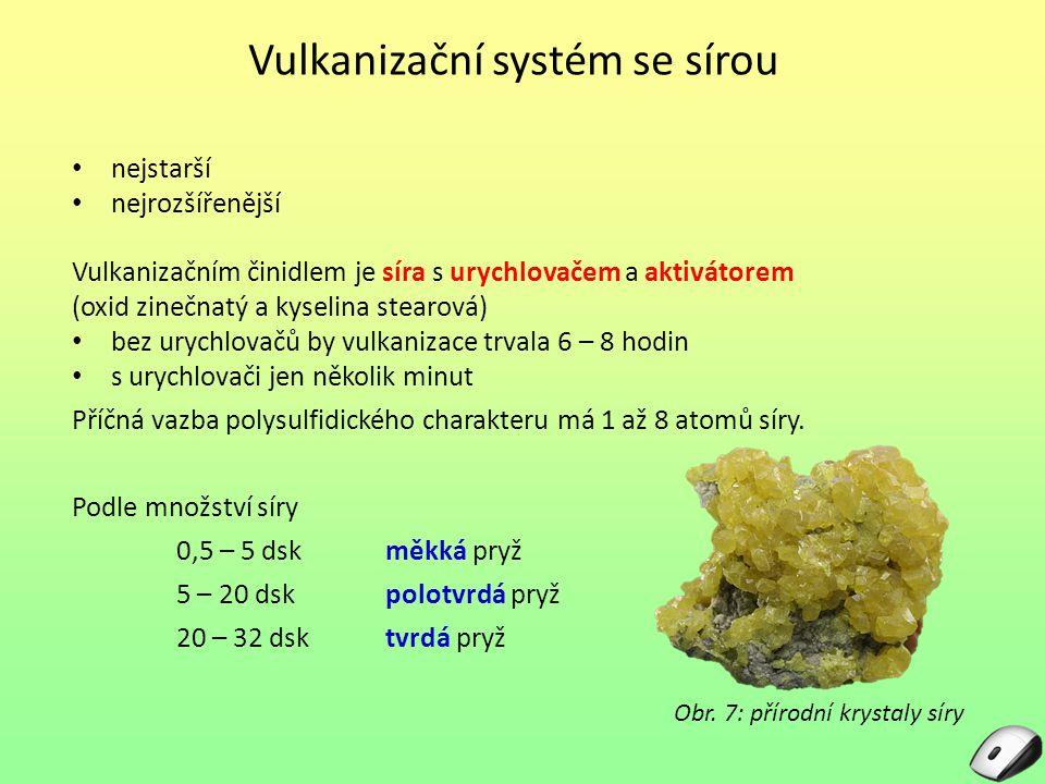 Vulkanizační systém se sírou