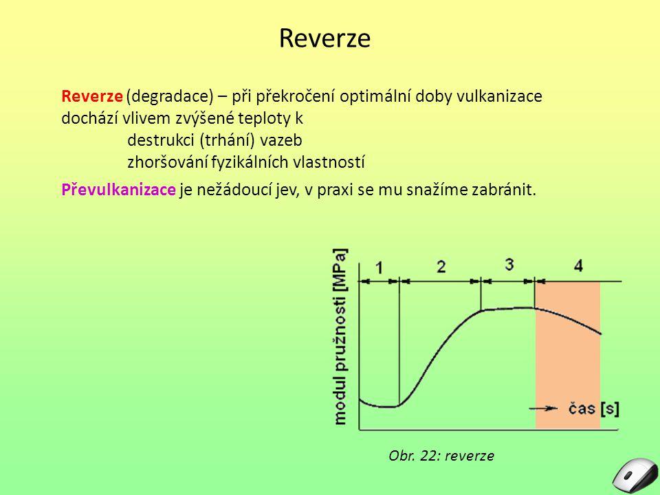 Reverze Reverze (degradace) – při překročení optimální doby vulkanizace dochází vlivem zvýšené teploty k.