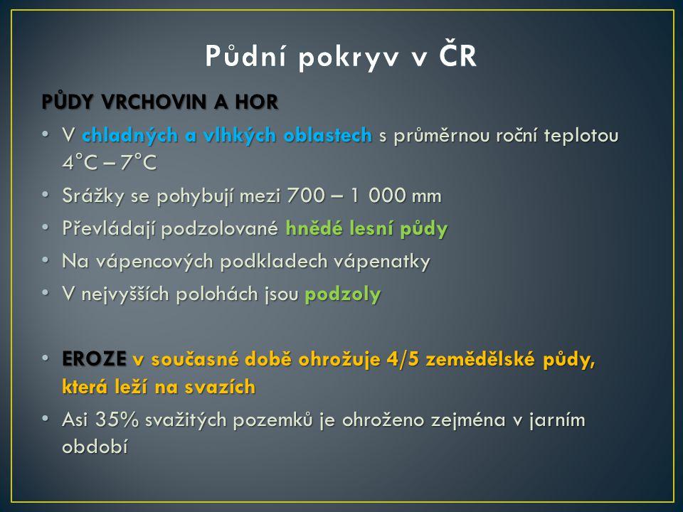Půdní pokryv v ČR PŮDY VRCHOVIN A HOR