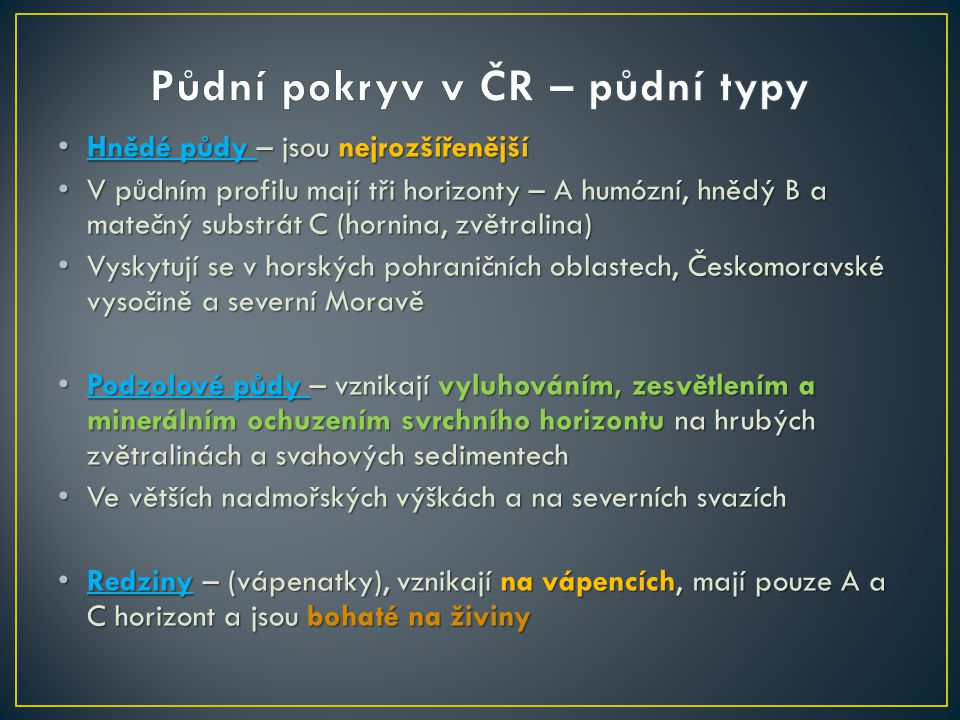 Půdní pokryv v ČR – půdní typy