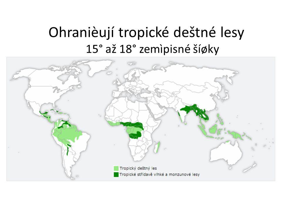 Ohranièují tropické deštné lesy 15° až 18° zemìpisné šíøky